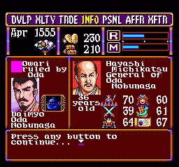 Nobunaga's Ambition – SNES