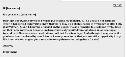 Madden Note from Walmart