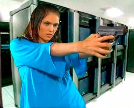 Morgan Webb with a Gun