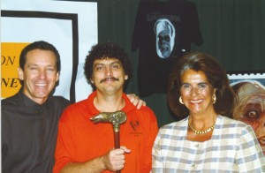 That's me in the middle with Sara Karloff and Ron Chaney. Yes, that's Talbot's Cane from the original Wolfman